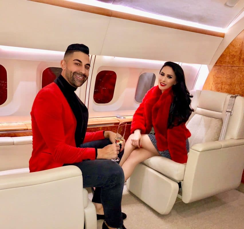 Dhar Mann and Laura G on a jet
